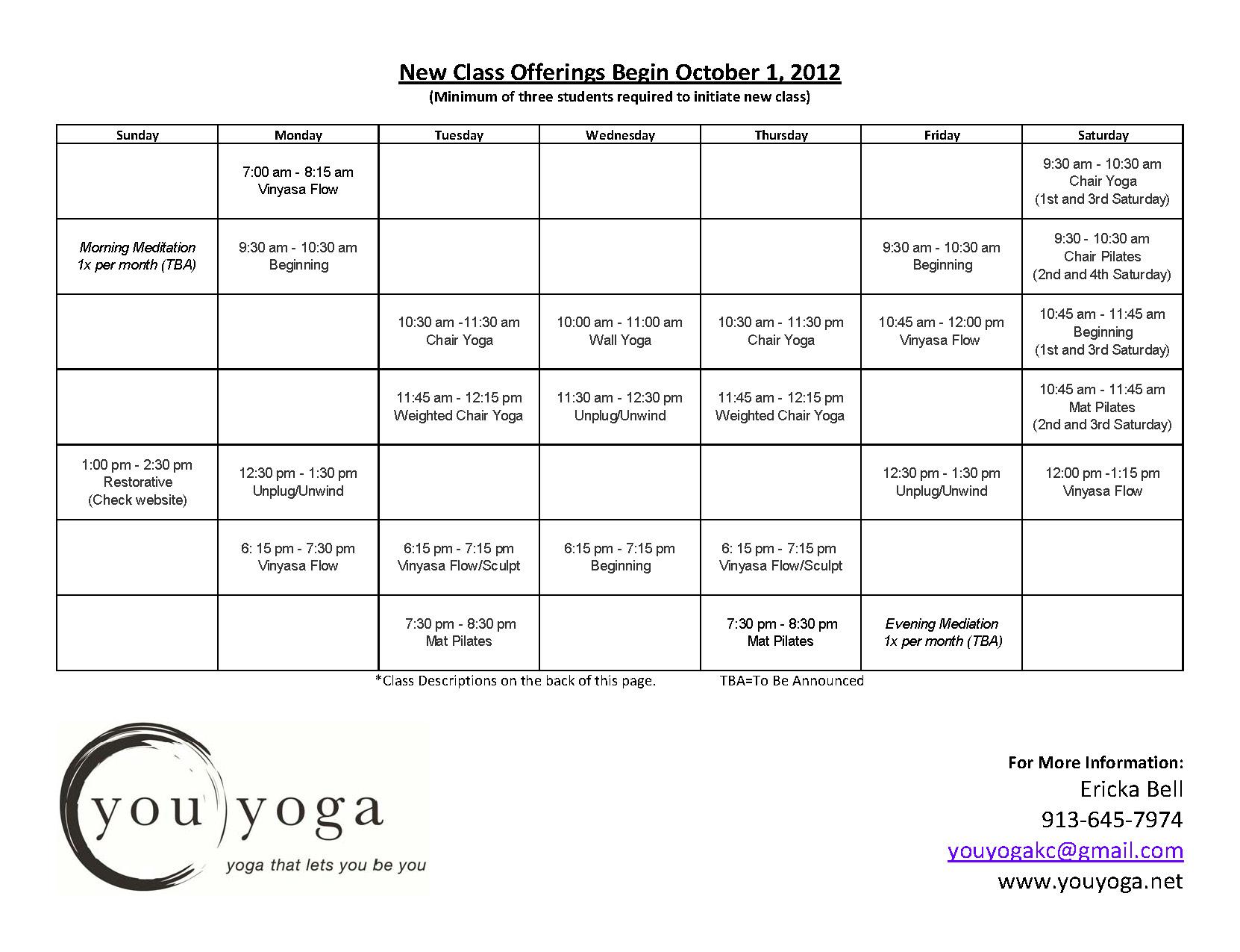 myoga schedule